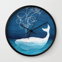 Happy whale, animals sea creature, teal blue watercolor Wall Clock