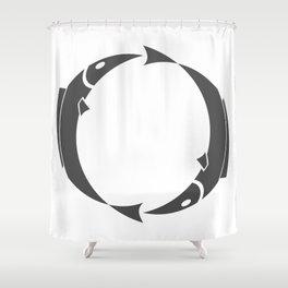 Fish style Fashion Modern Design Print! Fishing and eat Fish sign emblem badge Shower Curtain