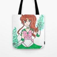 sailor jupiter Tote Bags featuring Sailor Jupiter by StarShineSoldier