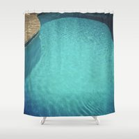 aqua Shower Curtains featuring Aqua by Cassia Beck