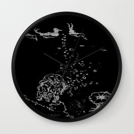Two Tailed Duck and Jellyfish Black and Dark Deep Sea Wall Clock