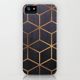 Dark Purple and Gold - Geometric Textured Gradient Cube Design iPhone Case