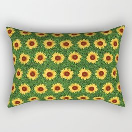 Sunflower Field - Green Rectangular Pillow