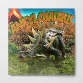 Ankylosaurus Dinosaur Park Vegetation and  Volcano Metal Print