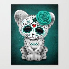 Blue Day of the Dead Sugar Skull Snow Leopard Cub Canvas Print