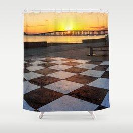 Checkerboard Sunset Shower Curtain