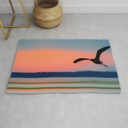 Seagull Sunset Abstract Rug