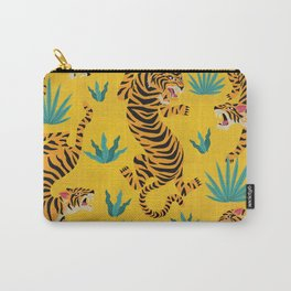 Wild Tigers on Sunshine Yellow - Kitschy Jungle Nature Pattern Carry-All Pouch
