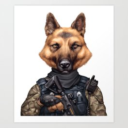 funny cool german shepherd soldier dog wearing army military clothes Art Print