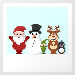 Christmas cartoon characters - Santa Claus, snowman, reindeer, elf and penguin Art Print