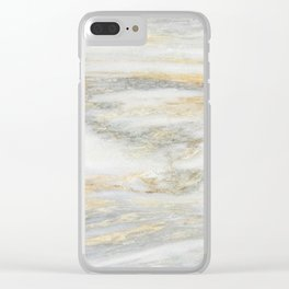 White Gold Marble Texture Clear iPhone Case