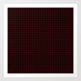 Dark Red Grid Art Print