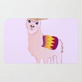 Cartoon Alpaca in Sombrero Rug