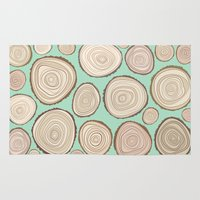 tree rings Area & Throw Rugs featuring Tree Rings by Jackie Sullivan