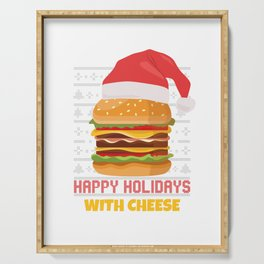 Happy Holidays With Cheese Christmas Burger Lovers Gift Serving Tray