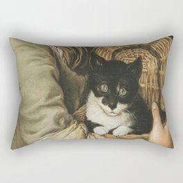 Ceruti– Portrait of girl with a cat in a basket Rectangular Pillow