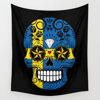 sweden Wall Tapestries featuring Sugar Skull with Roses and Flag of Sweden by Jeff Bartels