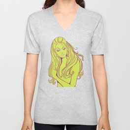 Psychedelic Lady Dream In Green Unisex V-Neck