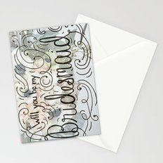 Will you be my bridesmaid? (Bouquet background) Stationery Cards