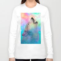 hobbes Long Sleeve T-shirts featuring Breathing Dreams Like Air (Wolf Howl Abstract) by soaring anchor designs