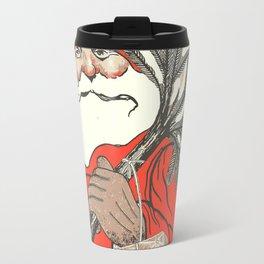 Christmas Pudding And Vintage Santa Vector Travel Mug