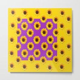 Golden & Purple Yellow Sunflowers Pattern Art Metal Print