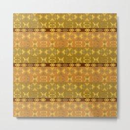 Ethnic african Golden Adinkra Metal Print