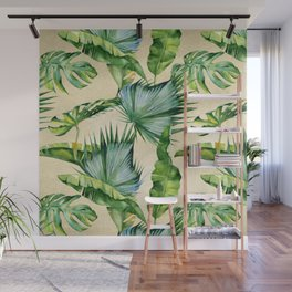 Green Tropics Leaves on Linen Wall Mural