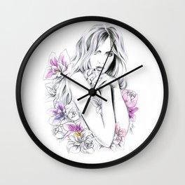 In Flowers Wall Clock