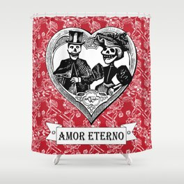 Amor Eterno | Eternal Love | Calavera Couple | Red | Black | Shower Curtain