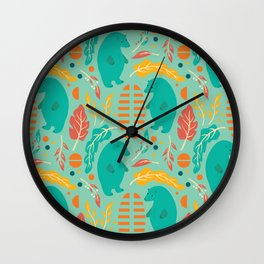 Bear pattern 001 Wall Clock