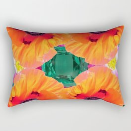 ABSTRACT GOLD ORANGE POPPY FLOWERS GREEN ART Rectangular Pillow