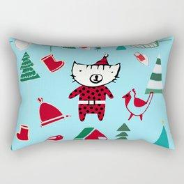 Cute Christmas cat blue Rectangular Pillow