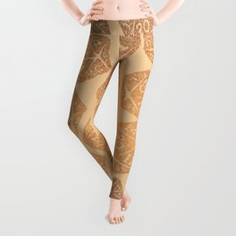 d20 - 70s vibe over tan - icosahedron Leggings
