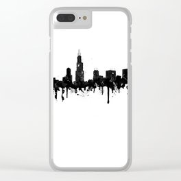 Watercolor Chicago Skyline Clear iPhone Case