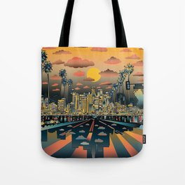 los angeles city skyline Tote Bag