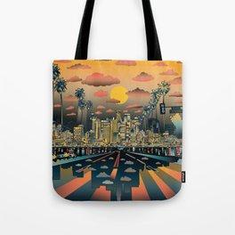 los angeles city skyline Tote Bag