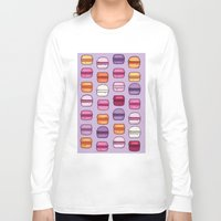 macaroons Long Sleeve T-shirts featuring Pink and Purple macaroons by augment
