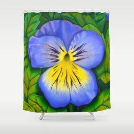 Purple Pansy Power Shower Curtain