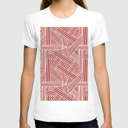 Sketchy Abstract (White & Maroon Pattern) T-shirt