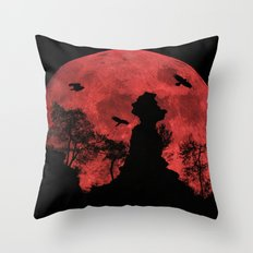 Red moon rock Throw Pillow