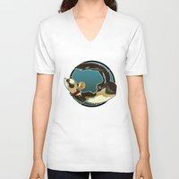 ferret V-neck T-shirts featuring Ferret by Ana del Valle Store
