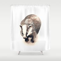 badger Shower Curtains featuring Badger 2011 by ellaquaint