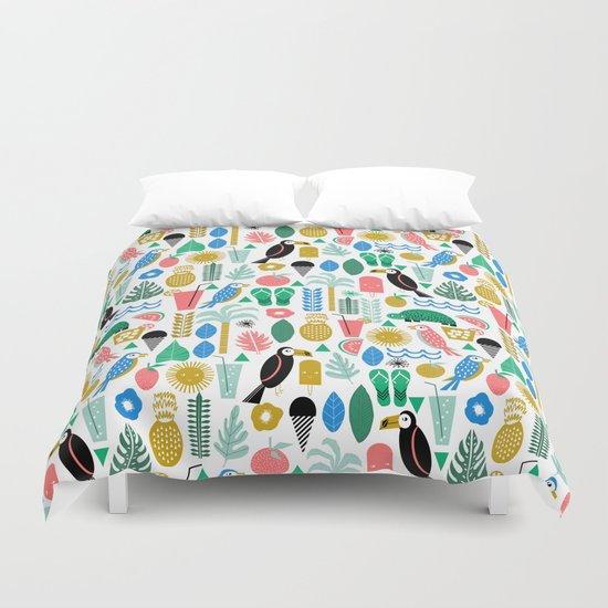 Tropical Vacation Island print pattern fun beach surf sand fun gift for trendy dorm room bright  Duvet Cover