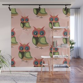 Cute owls on pink background Wall Mural