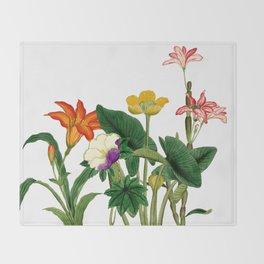 Vintage floral board white Throw Blanket