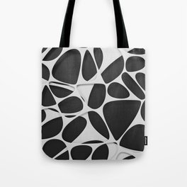 White on black, organic abstraction Tote Bag