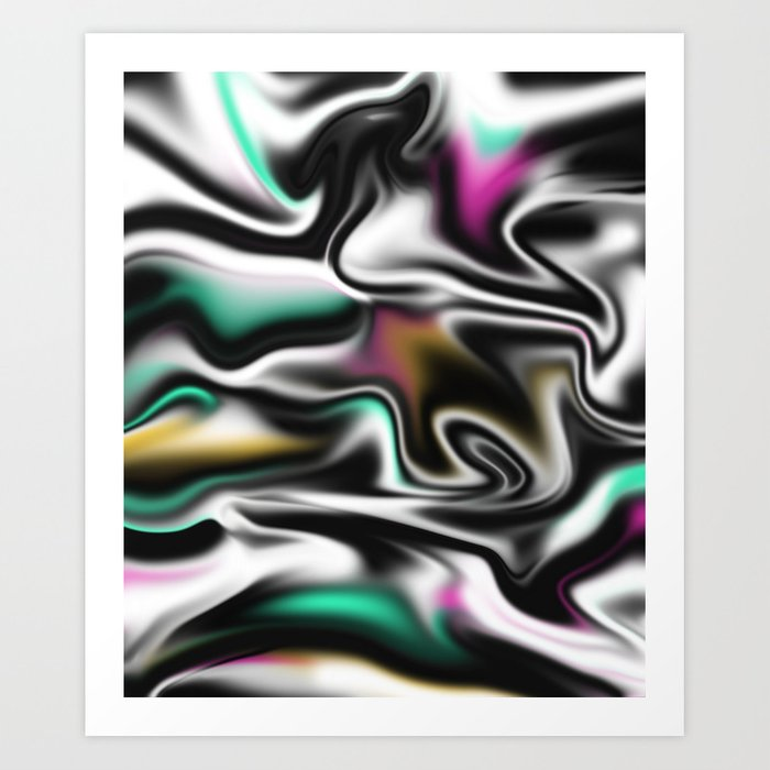 Psychedelic liquid abstract paint in black white pink turquoise art print