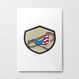 Towing J Hook Flag Draped Shield Retro Metal Print