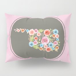 Oklahoma Watercolor Flowers on Pink and Gray Pillow Sham
